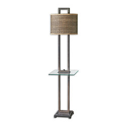 Uttermost - Stabina End Table Floor Lamp - Rustic bronze metal with burnished edges, black marble foot and a tempered, rectangle glass tray. The oval drum shade is brown and tan woven rattan with decorative trim.
