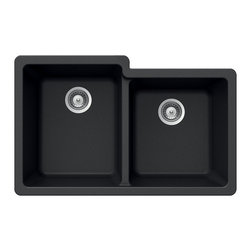 Houzer - Houzer Quartztone M-175U MIDNITE 60/ 40 Double Bowl Undermount Sink - Houzer granite kitchen sink Quartztone Series Undermount 60/40 Double Bowl - MIDNITE