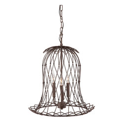 Zuo Modern Contemporary, Inc. - Chert Ceiling Lamp Rust - Whimsical and airy, the Chert Ceiling Lamp adds a clever touch to any room. Light is wrapped in a wire bell with a rust patina. String this mini caged candelebra from the ceiling for a Bohemian vibe.