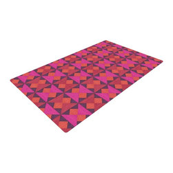 """Kess InHouse - Empire Ruhl """"A Quilt Pattern"""" Pink Red Woven Area Rug (22.5"""" x 37"""") - Splash your floors with artwork! That's right, I said your floors. With these woven polyester jacquard area rugs adding a splash or pop of artwork is a breeze. Use it in just about any room, even the bathroom! These woven area rugs will leave all of your guests envious as they walk through your artistic home!"""