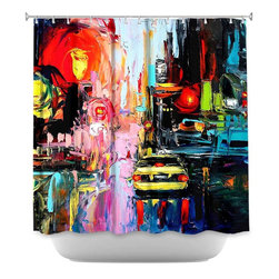 DiaNoche Designs - Shower Curtain Artistic Faces of the City cxvi - DiaNoche Designs works with artists from around the world to bring unique, artistic products to decorate all aspects of your home.  Our designer Shower Curtains will be the talk of every guest to visit your bathroom!  Our Shower Curtains have Sewn reinforced holes for curtain rings, Shower Curtain Rings Not Included.  Dye Sublimation printing adheres the ink to the material for long life and durability. Machine Wash upon arrival for maximum softness on cold and dry low.  Printed in USA.