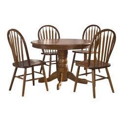 Liberty Furniture - Liberty Furniture Nostalgia 5 Piece 42 Inch Round Dining Room Set in Oak - Nostalgia 5 Piece 42 Inch Round Dining Room Set in Oak is a part of Nostalgia Collection by Liberty Furniture What's included: Dining Table (1), Side Chair (4).