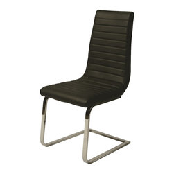 Pastel Furniture - Pastel Furniture Skyline Side Chair X-979-HC-011-YS - The Skyline side chair exemplifies handsome proportions and bold design. With simple lines mixed with curves for comfort, this beautiful chair adds style and elegance to the dining experience. The chair is upholstered in Pu Black with a Chrome leg.