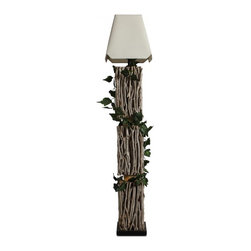 ParrotUncle - White Square Corner Shade Tea Branch Decorated Floor Lamp - This handmade artistic floor lamp is made of solid wood base around with tea branches. And there is some tea branches decorated on it, which makes it rustic. It makes your home vibrant. Bleached fabric shade is included.