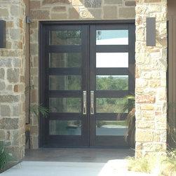 Contemporary Rubi Doors - 6' x 8' mahogany Rubi 5-lite double door with Emtek Orion handlesets in Boerne, TX. By The Front Door Company.
