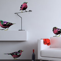 """Binary Box - Pop Art Sparrows Wall Stickers - Pop Art Sparrows Wall Stickers are a funky range of pop art inspired wall decals. They are a vibrant way to add a certain touch of Je ne sais quoi to your room. This set of four (4) birds spans in size from 7"""" x 9"""" to 19"""" x 10."""""""