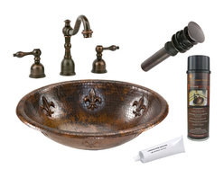 Premier Copper Products - Oval Fleur De Lis Self Rimming Sink w/Faucet - PACKAGE INCLUDES: