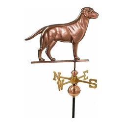 Good Directions, Inc. - Good Directions Labrador Retriever Weathervane - Polished Copper - One of the most popular dog breeds in the USA, this Labrador Retriever is ready to stand guard over the rooftop of your house, barn, garage, or cupola. Our Good Directions artisans use Old World techniques to handcraft this fully functional, extra-large weathervane that's unsurpassed in style, quality and durability. A great gift for dog enthusiasts!