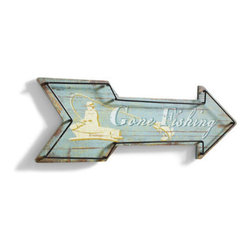 """Grandin Road - Gone Fishing Vintage Metal Sign - Arrow-shaped signs with """"Gone Fishing"""" and """"Lakeside Cabins"""" text. Crafted from engineered wood and iron. Signs arrive ready to hang, or place on a table or bookshelf for instant enjoyment. Enhance the look of your weekend getaway, or enjoy a taste of cabin living at home by displaying one --- or better yet, both --- of our arrow-shaped Vintage Metal Signs. Hand-painted finishes give them a well-loved look from the moment they arrive. Perfect additions to the lake house or woodland lodge. Arrow-shaped signs with """"Gone Fishing' and """"Lakeside Cabins' text .  .  ."""