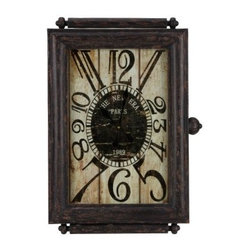 Cooper Classics Charest Wall Clock - 21 in. Wide - The Cooper Classics Charest Wall Clock gives French rustic style a new face—and a new frame—with its wrist watch-inspired design. Crafted from durable metal, this oversized clock is finished in aged black with distressed accents of brown and red.About Cooper ClassicsCooper Classics was founded over 50 years ago and is currently operated by the third generation of the Cooper family. Their production and warehousing facilities are located in the Blue Ridge Mountains of Virginia, where they produce uniquely styled mirrors and accessory furniture. Because of their extensive background in wood product manufacturing, they excel in the design and production of solid wood mirror frames and furniture. Cooper's commitment to their customers is to provide products with outstanding quality and styling while maintaining a competitive price.