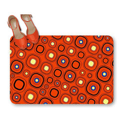 Retro orange doormat - This beautiful Retro orange doormat will be adding a touch of style and a whole lot of functionality to your bedside, doorway, kitechen or bath. Place it in the bathroom will add comfort to your home and feels cozy on your feet. Put it in the door front to give visitors to your home a warm welcome.