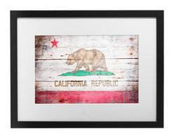 "PingoWorld - Vintage California Flag Custom Framed, 20""x16""x1.25"" - Republic of California Vintage Flag. Artwork is produced on 100% cotton 315g. weight museum quality acid/lignin free art paper. Our expert craftsmen secure the artwork in a beautiful pine frame with foam core backing and matting."