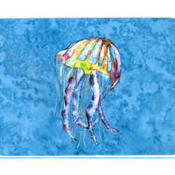 Caroline's Treasures - Jellyfish Kitchen Or Bath Mat 24X36 - Kitchen / Bath Mat 24x36 - 24 inches by 36 inches. Permanently dyed and fade resistant. Great for the Kitchen, Bath, outside the hot tub or just in the door from the swimming pool.    Use a garden hose or power washer to chase the dirt off of the mat.  Do not scrub with a brush.  Use the Vacuum on floor setting.  Made in the USA.  Clean stain with a cleaner that does not produce suds.