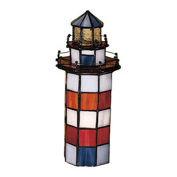 Meyda Tiffany - Meyda Tiffany Hilton Head Lighthouse Accent Lamp X-83502 - From the Hilton Head Collection, this Meyda Tiffany accent lamp takes the shape of a lighthouse complete with rail detailing, windows and doors. A miniature reproduction of the Hilton Head lighthouse, this design features shades of white, red and blue paired with yellow accenting at the top to help replicate a more authentic lighthouse feel.
