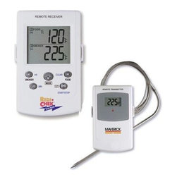 "Maverick - Maverick Remote Smoker Thermometer - Maverick Remote Smoker Thermometer Monitor internal temperature of smoked meats from 100 feet away. WireleStainless Steel receiver with LCD beeps and flashes when smoked meat temperature goes above your programmed temperature. Monitor smoking chamber temperature. Receiver beeps and flashes if smoking chamber temperature falls out of your programmed range. Count-Up & Count-Down Timer. LCD of receiver has back light for use at night. Receiver has belt clip and built in stand. Heat-resistant food probe wire can be inserted 6"" into meat. Transmitter has removable wire stand that also becomes a hanger. Can be used with oven or grill too. 4 AAA batteries included."