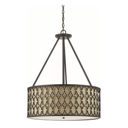AF Lighting - Candice Olson Cosmo Transitional Pendant Light - AF Lighting Cosmo Transitional Pendant Light is beautiful designed with a frame that includes Hand-Welded Oval Rings which are combined with Silver Cuffs to make a dramatic impression. The Dark Linen Shade shows off the Oil-Rubbed Finish. Add a stunning lighting fixture to your Home with this unique designed pendant.