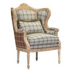 Emanuelle Chair - Beautiful details like custom fabrics and lovely carvings make the Emanuelle Chair a sophisticated and elegant chair.  This beautiful chair would work well in a living room, bedroom or as host and hostess chairs in a dining room.
