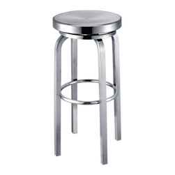 Fine Mod Imports - Fine Mod Imports Navy Counter Chair in Aluminum (Set of 2) - Navy Stool is made of brushed aluminum in for indoor use only. Chair swivels form maximum comfort.