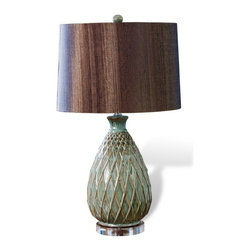 Interlude - Hollingsworth  Lamp - A sophisticated basket weave design meets reactive glaze creating this unique one of a kind piece.