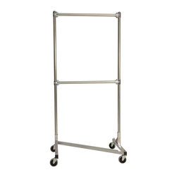 Z Racks - Heavy Duty Z-Rack Double Rail Garment Rack in - Base Color: Silver. 500lb capacity. 14 gauge stee, 36 in. long base (Environmentally safe powder coated finish). 16 gauge, 72 in. upright bars and double hang rails. 1 5/16 outside diameter upright bars and hang rail. Grey non-marking soft rubber with TP center 4 in. casters. Made in the USA. Assembly Required. 36 in. L x 23 in. W x 79 in. HThis three foot double rail Z-Rack, a multi-purpose clothing rack, is able to withstand just as much heavy use as its larger counterparts, but still fits easily into smaller spaces. The uprights still extend to a full six feet, providing a good amount of hanging space��_a solution that�۪s both short and sweet.
