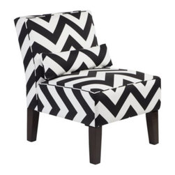 Z Gallerie - Bailey Accent Chair - Chevron - Our Bailey Chair upholstered in a black and white chevron pattern will provide comfort but, more importantly, it provides a statement of fashion. The armless slipper chair covered in 100% cotton is cushioned with high-density foam padding. The lumbar accent pillow adds comfort and style. The scale of the chair makes it perfect for bedrooms or as pairs without forfeiting a lot of space.