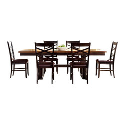 Liberty Furniture - Liberty Furniture Bistro II 7 Piece 90x40 Trestle Dining Room Set - Intersecting X-designs, upholstered chair seats, and butterfly leaves make the Bistro dining collection a well-rounded set made with style, comfort, and functionality in mind. Bring a complete set or mix and match pieces from each finish to bring the dynamic style of this set to your dining space. Made of walnut and rubberwood solids, the pieces from this dining group are made to last. Timeless style and a casual spin on modern design make this group the perfect fit for your home. What's included: Dining Table (1), Side Chair (6).
