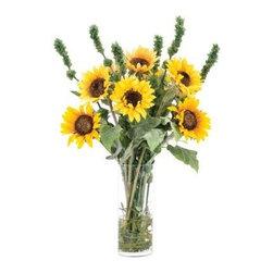"Silver Nest - Sunflower Height Centerpiece- 36""h - Yellow Sunflowers and Green Irish Bells Centerpiece in a Cylinder Glass Vase"