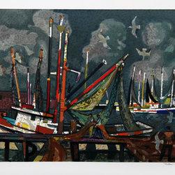 Millard Owen Sheets, Fisherman, Lithograph - Artist:  Millard Owen Sheets, American (1907 - 1989)