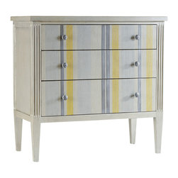 Hooker Furniture - Shimmer and Stripes Chest - This is a chest made for a summer's day in the Hamptons. If you want a touch of East Coast flair, this handsome chest should be just your cup of tea. The silver drawer pulls are a nice contrast to the gray and lemon colors.