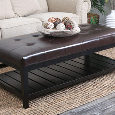 Abbyson Living Manchester Bicast Tufted Leather Coffee Table Ottoman | Overstock