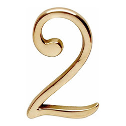 "Renovators Supply - House Numbers 3"" H Bright Brass # 2 Pin-Mount House Number - Petite door and house numbers in solid brass measure 3 in. high. RSF finish protects 20 to 40 times longer than standard lacquers.  No screws required as each number has back pins. Simply make holes onto which the number will be placed and secure with glue or epoxy as needed."