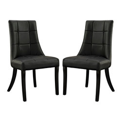 Noblesse Vinyl Dining Chair Set of 2 - Sweeping lines bring a majestic air to the Noblesse dining chair. Surround your dining table with a royal view that inspires everyone to linger. Complete with a faux leather checkerboard patterned seatback that adds depth to this modern twist on the elegant seating choice, entertain family and friends on this padded chair intended to remain comfortable for hours.