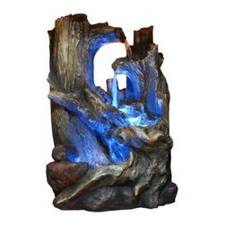Alpine - Tree Trunks Fountain with LED Light - Features:Dimensions: