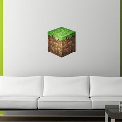 """Minecraft Grass Block Wall Decal by Sticky World - If you're not into subtlety, go for one of these awesome Minecraft decals from Etsy seller Sticky World. Torches, """"creepers,"""" pickaxes and just about any Minecraft icon are all available."""