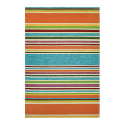 "Frontgate - Summer Stripe Outdoor Rug - Hand-hooked of 100% fiber-enhanced Courtron polypropylene. Resists water, mold and mildew. Approximate pile height is .25"". Easy-to-clean. Pet friendly. Designed with today's busy households in mind, the Summer Stripe Outdoor Rug is made of the finest 100% fiber-enhanced Courtron polypropylene. Featuring a unique hand-hooked construction, this beautifully detailed area rug also has the distinctive aesthetic of an artisan-crafted product. Treated to prevent the growth of mold and mildew, this multi-purpose area rug is water-resistant and can be used in a multitude of spaces, including covered outdoor patios, porches, mudrooms, kitchens and entryways. This rug will retain its rich splendor and stand the test of time despite the wear and tear of heavy foot traffic, humidity conditions and other elements.  .  .  .  .  . Suitable for indoor or outdoor use . Add a rug pad for increased drainage and softness underfoot, and to hold rug in place ."