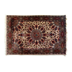 Gorgeous Persian Rug in Red & Ivory Floral Motif - Wowza! Are we looking at a rug, or through a kaleidoscope?An absolutely breath-taking area rug with a floral and leaf motif. The intricate patterns that impress up-close, transform into bold patterns and shapes from afar.