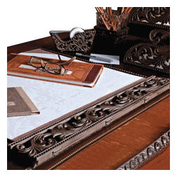 "Gracious Goods GG - Burnished Bronze Scroll Style Desk Blotter - A cup of coffee or tea, and a quiet moment at a well appointed desk provides a moment of order and tranquility at the start of a busy day. With our high quality GG Collection desk blotter, you'll definitely have where to write on, draw on, or even paint on. Just draw that piece of paper out, and you're all set. Elaborately designed, with ornate detail, of scrolls and beads, this blotter, will transform your desk into one of pure sophistication. Note: all finishes in this collection are handcrafted, resulting in variations of color, that reflect in the unique character of each piece.   *Dimensions approx. 22"" X 24"""