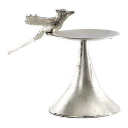 Rojo16 - Aluminium Bird Pillar Candle Holder, Nickel, Large - This decorative candle holder lends a pastoral touch to any design scheme and will help it spread it wings and soar. Don't restrain yourself, you could use it for holding any manner of small objects you wish to put on display.