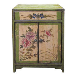 Golden Lotus - Chinese Green Flower Graphic End Table Nighstand - This is a traditional Chinese graphic side table with green base color and oriental flower pattern on the doors.