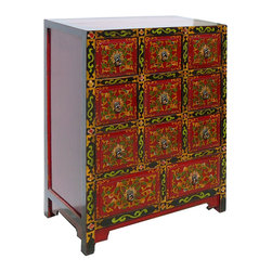 Golden Lotus - Tibetan Flower Hand Painting Multiple Drawers CD Cabinet - This is a Tibetan multiple drawers CD cabinet which is made of solid elm wood.  Each drawer comes very nice flower hand painting on it.