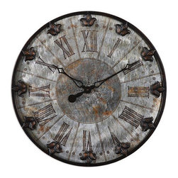 """Origin Crafts - Artemis 24"""" wall clock - Artemis 24"""" Wall Clock Brushed aluminum face with rust distressing and oil rubbed bronze details with gold highlights. Quartz movement. Dimensions (in):24 W X 24 H X 2 D (in) Weight:10lbs By Uttermost - Uttermost manufactures mirrors, art, metal wall art, lamps, accessories, clocks and lighting"""