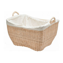 Kouboo - Wicker Laundry Basket with Liner, Natural Color - Laundry day just got easier. Use this pretty wicker basket to tote your clothes to and from the washer and dryer. It's fitted with a washable liner to prevent items from getting snagged. And, it's also great for storing things like toys, books and blankets.