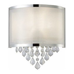 Canarm - Reese Chrome Wall Light - Reese with shimmering PVC shade and clear removable crystal adornments   - No Bulb Included   - 1 year - Limited Warranty Canarm - IWL435A01CH