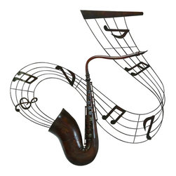 Woodland Imports - Music Instrument Saxophone Metal Wall Art Music Notes Decor 68054 - Modern and classic inspired music instrument saxophone metal wall art with music notes living and dining room decor