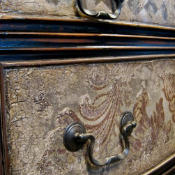 Hand painted mixed media buffet FOR SALE - Hand painted mixed media buffet, drawer close up