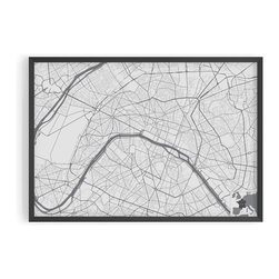 ArtnWalls - CONTEMPORARY PARIS MAP ART PRINT on Premium Fine Art Paper-Giclee Fine Art Print - This PARIS City map is printed on textured heavy-weight fine art paper.