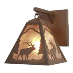 Steel Partners Inc - Hanging Sconce - TIMBER RIDGE ELK - Every piece we create is unique — handcrafted at our factory in Chehalis, Washington, USA. Due to this, lead times are 2 to 4 weeks.