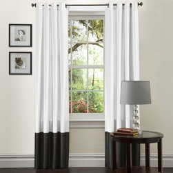 Lush Decor - Lush Decor Black and White Prima 84-Inch Curtain Panels (Set of 2) - Add beauty and style to your home with this 84-inch curtain panel set.  The faux silk will add the perfect touch to your home decor.