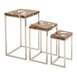 Superior Beauty Steel Teak Nesting Table, Set of 3 - Description: