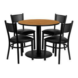 Flash Furniture - Flash Furniture 36 Inch Round Natural Laminate Table Set with 4 Metal Chairs - 36'' round Natural Laminate table set with 4 Grid back metal chairs - black vinyl seat [MD-0006-GG]